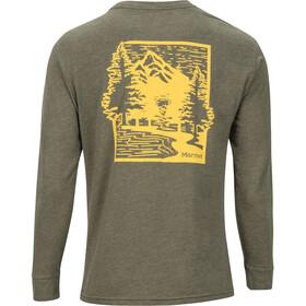 Marmot Woodcut Camiseta Manga Larga Hombre, olive heather